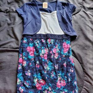 girls size 6 navy dress, flower bottom